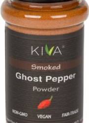 Kiva Gourmet Smoked, Ghost Chili Pepper Powder (Bhut Jolokia) - Non GMO, Vegan, Fair Trade