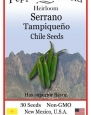 Heirloom Serrano Tampiqueno Chile Seeds - 30 Seeds - Very Hot!